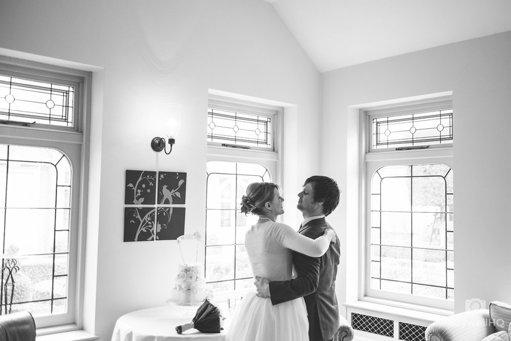 Wedding photography at Kilworth house in Leicester - bride and groom have a queit moment after their wedding ceremony