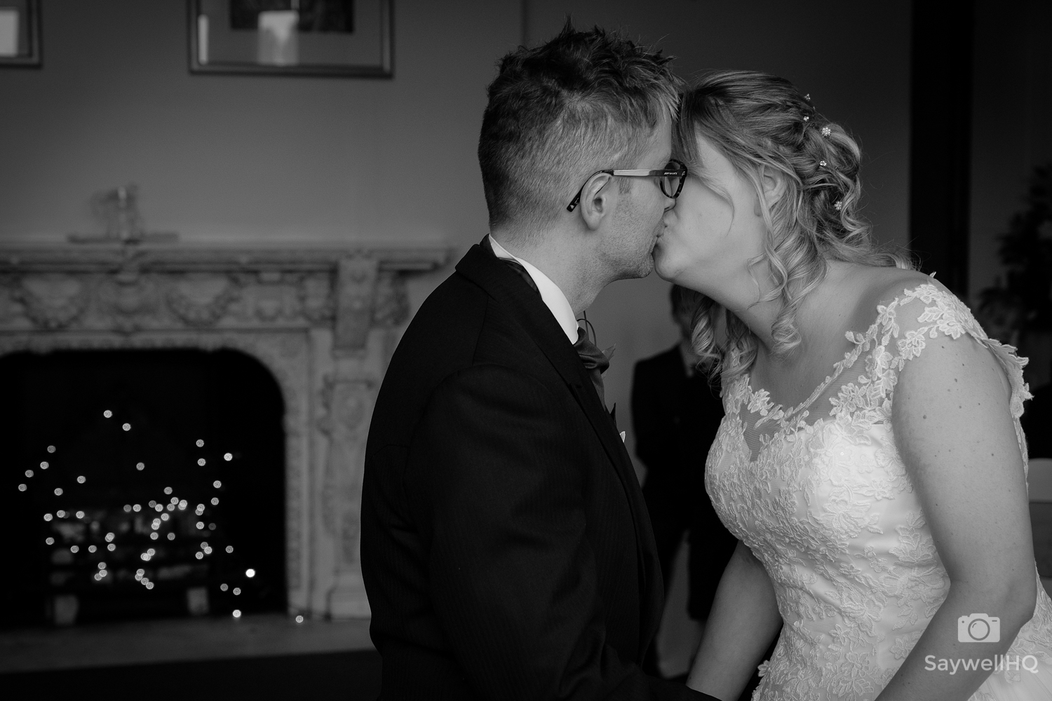 Wedding photography Beaumanor Hall - bride and groom first kiss during the wedding ceremony at Beaumanor Hall