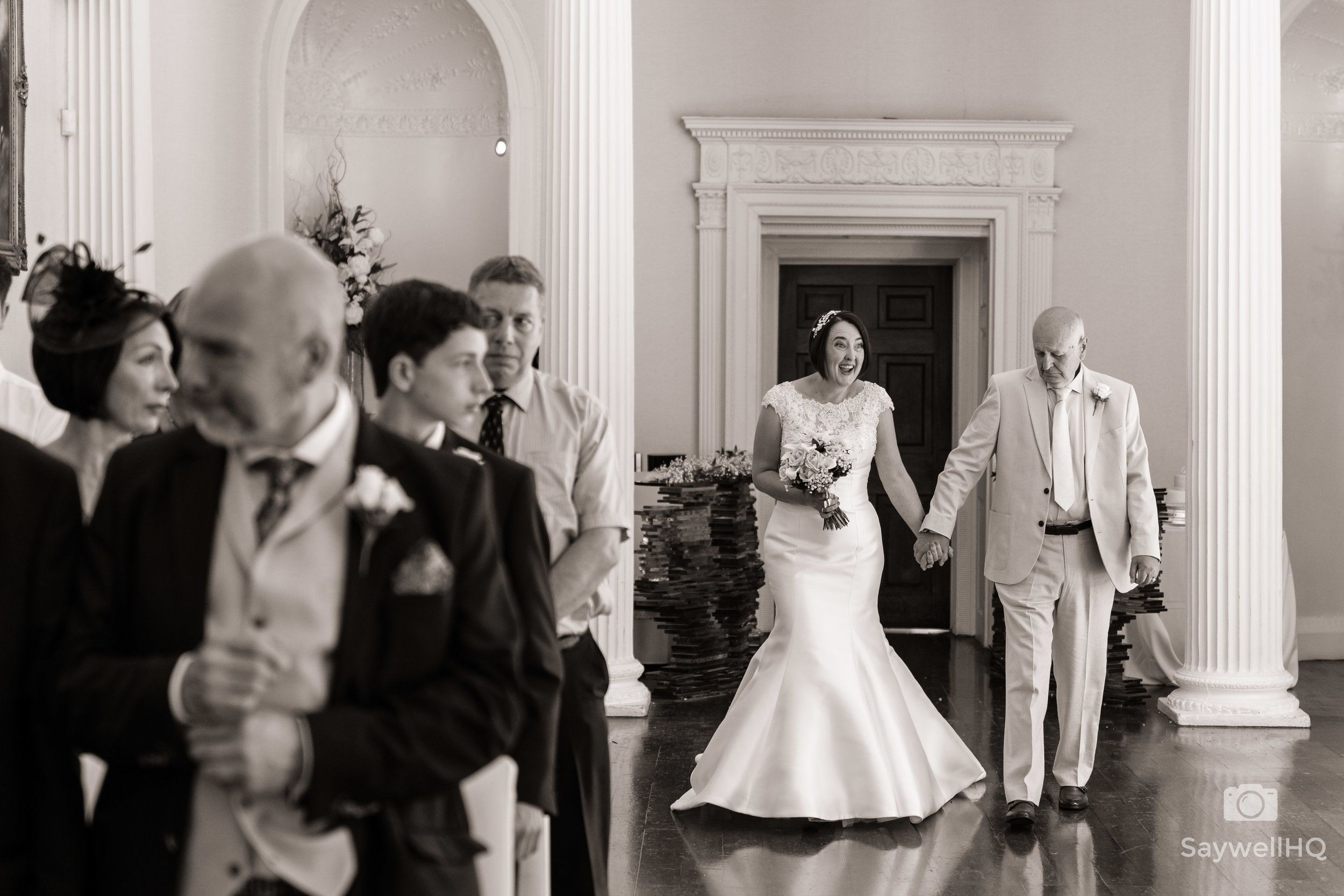 colwick hall wedding photography bride + father of the bride walking down the aisle