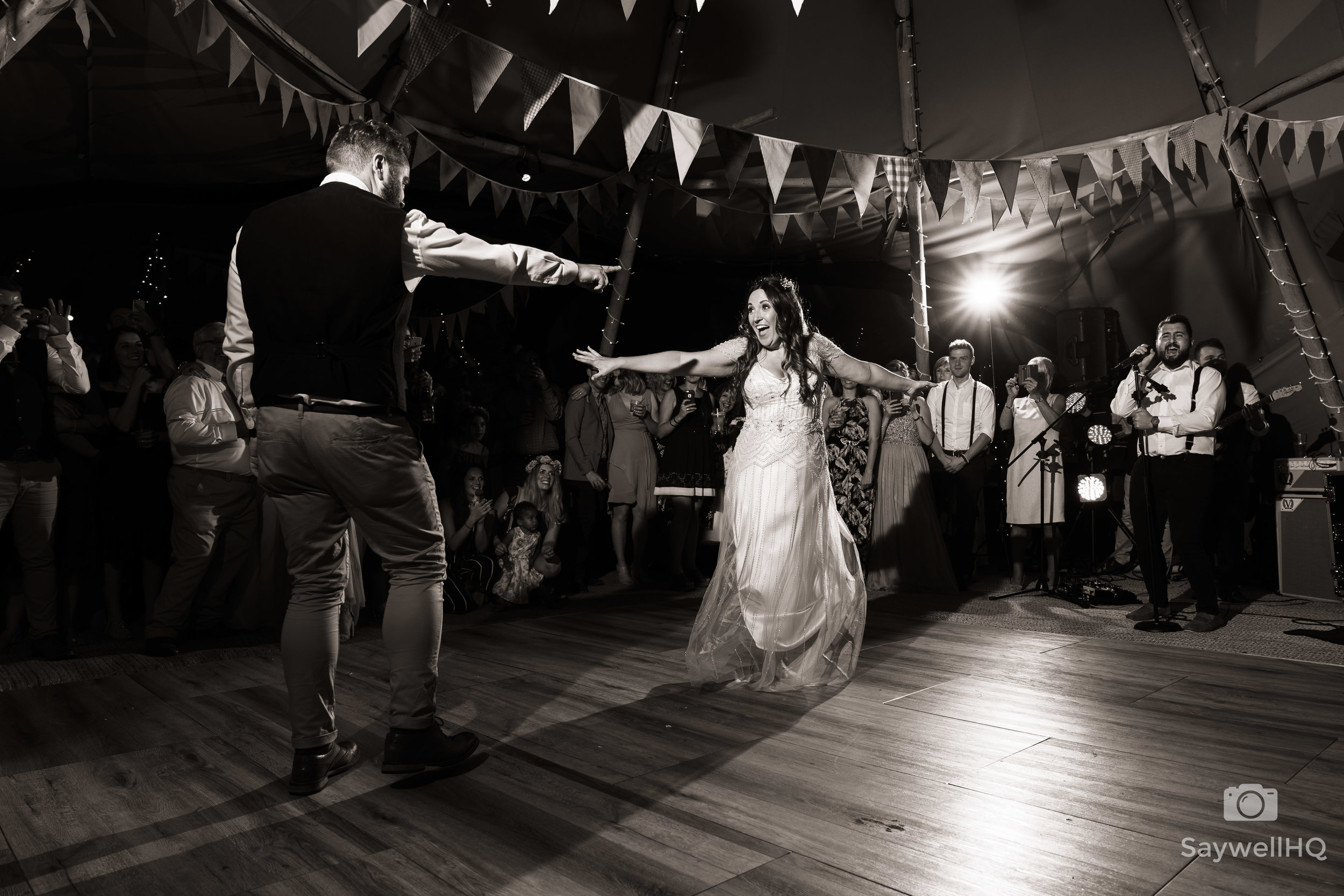 Mapperley Farm wedding photography + bride + groom first dance in tipi