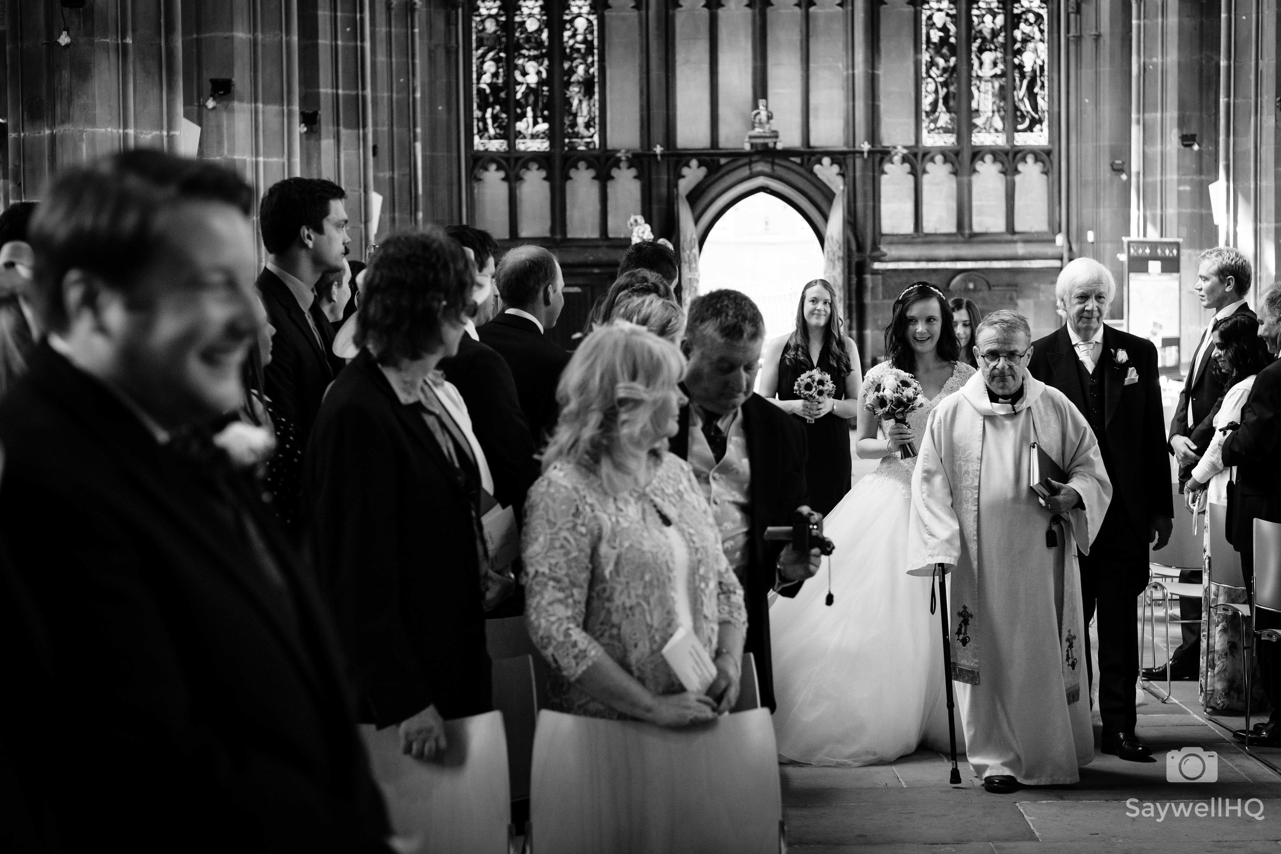 Wedding Photography at St Mary's Church Nottingham + bride walking down the aisle