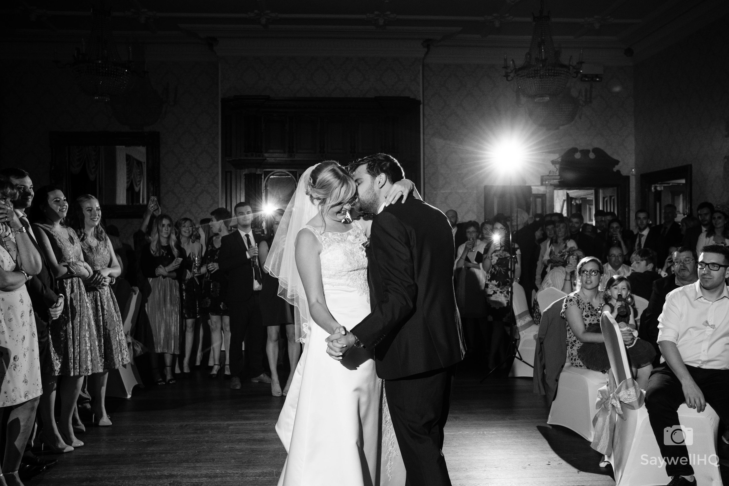 wedding photography at Alfreton Hall bride and groom first dance at Alfreton hall