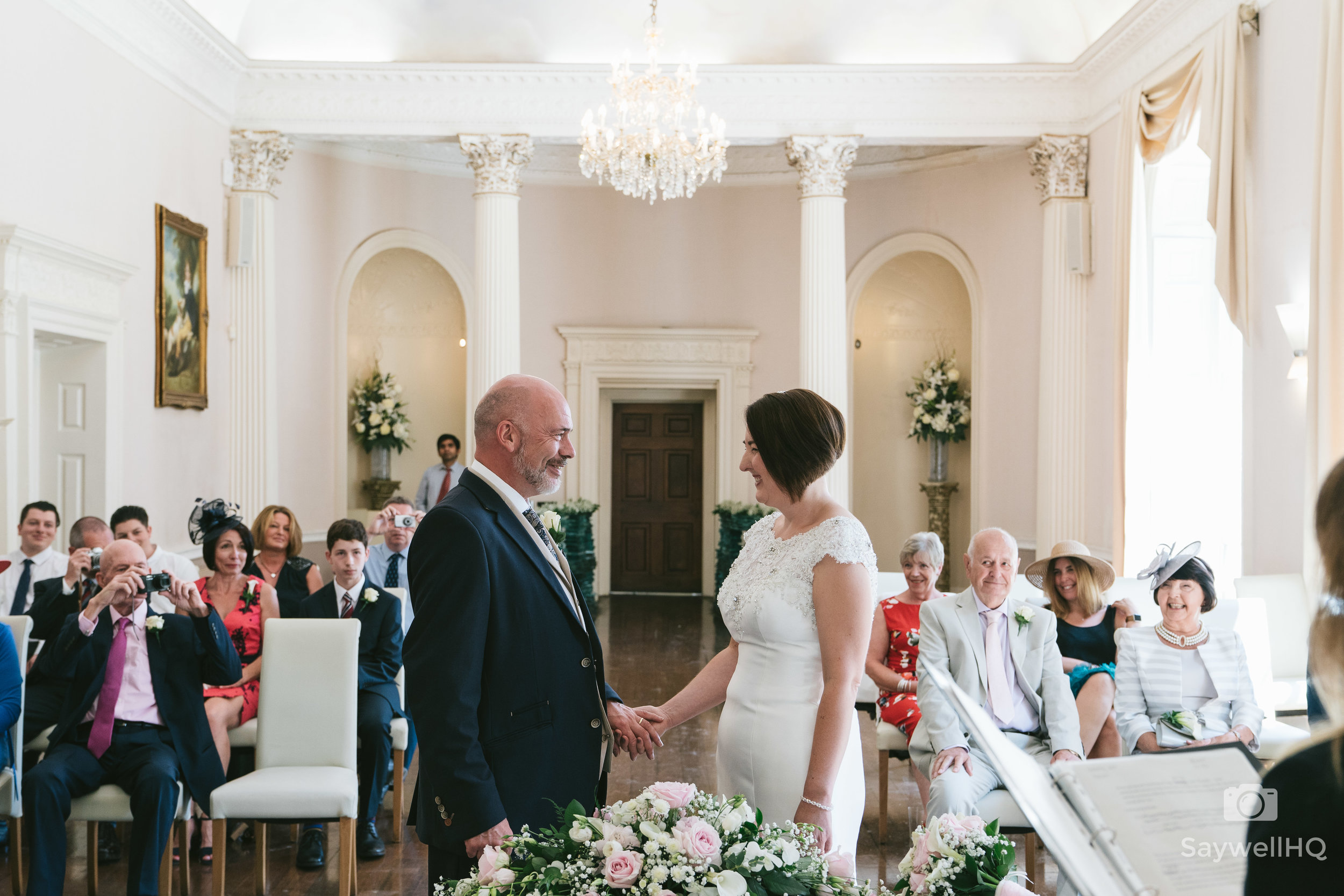 Colwick hall wedding bride and groom ceremony room