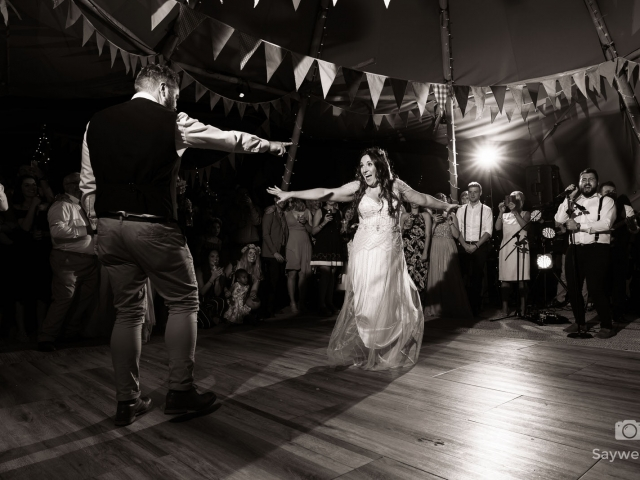 humanist wedding photography at mapperley farm + bride and groom dancing during the wedding first dance