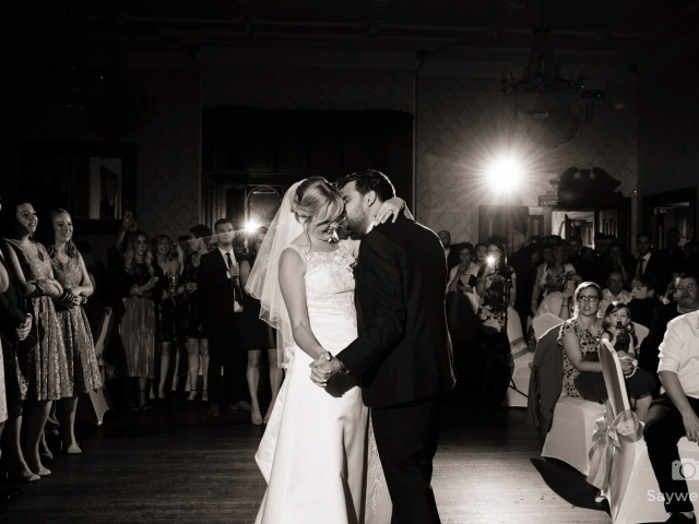 bride and groom first dance photo at alfreton hall