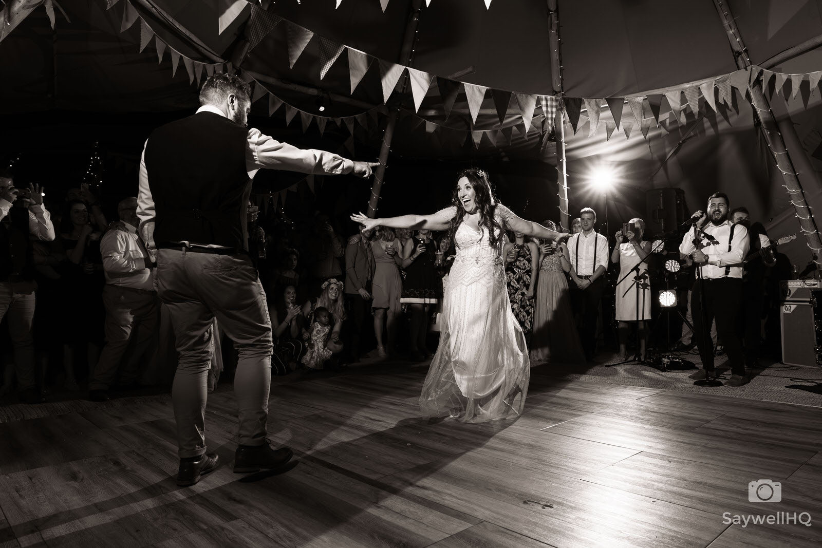 Wedding photography at mapperley farm - bride and groom first dance