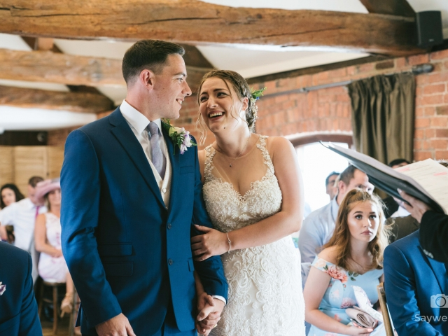 Swancar Farm Wedding Photography bride groom having a laugh with each other