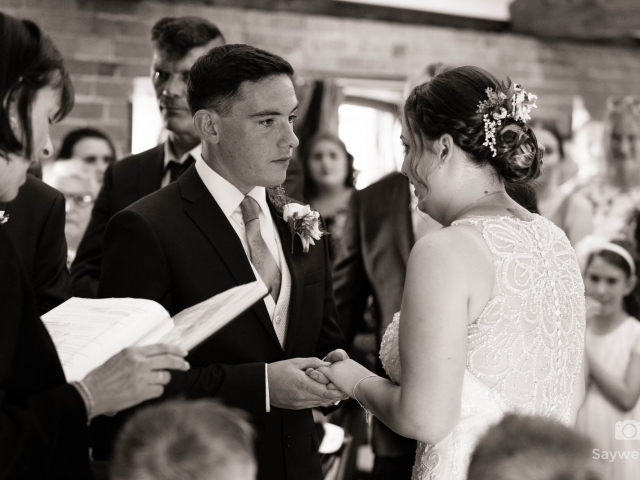 Swancar Farm Wedding Photography bride and groom exchanging rings