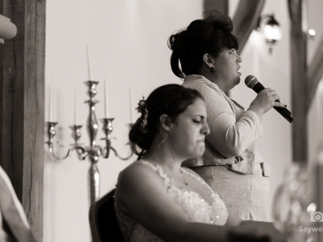Swancar Farm Wedding Photography brides mother gets emotional during the wedding speech