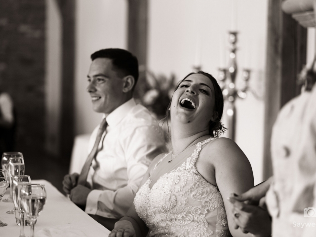 Swancar Farm Wedding Photography bride reacts to her mums wedding speech