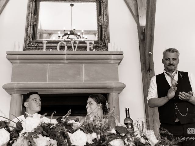 Swancar Farm Wedding Photography brides dad reacts to the wedding speeches