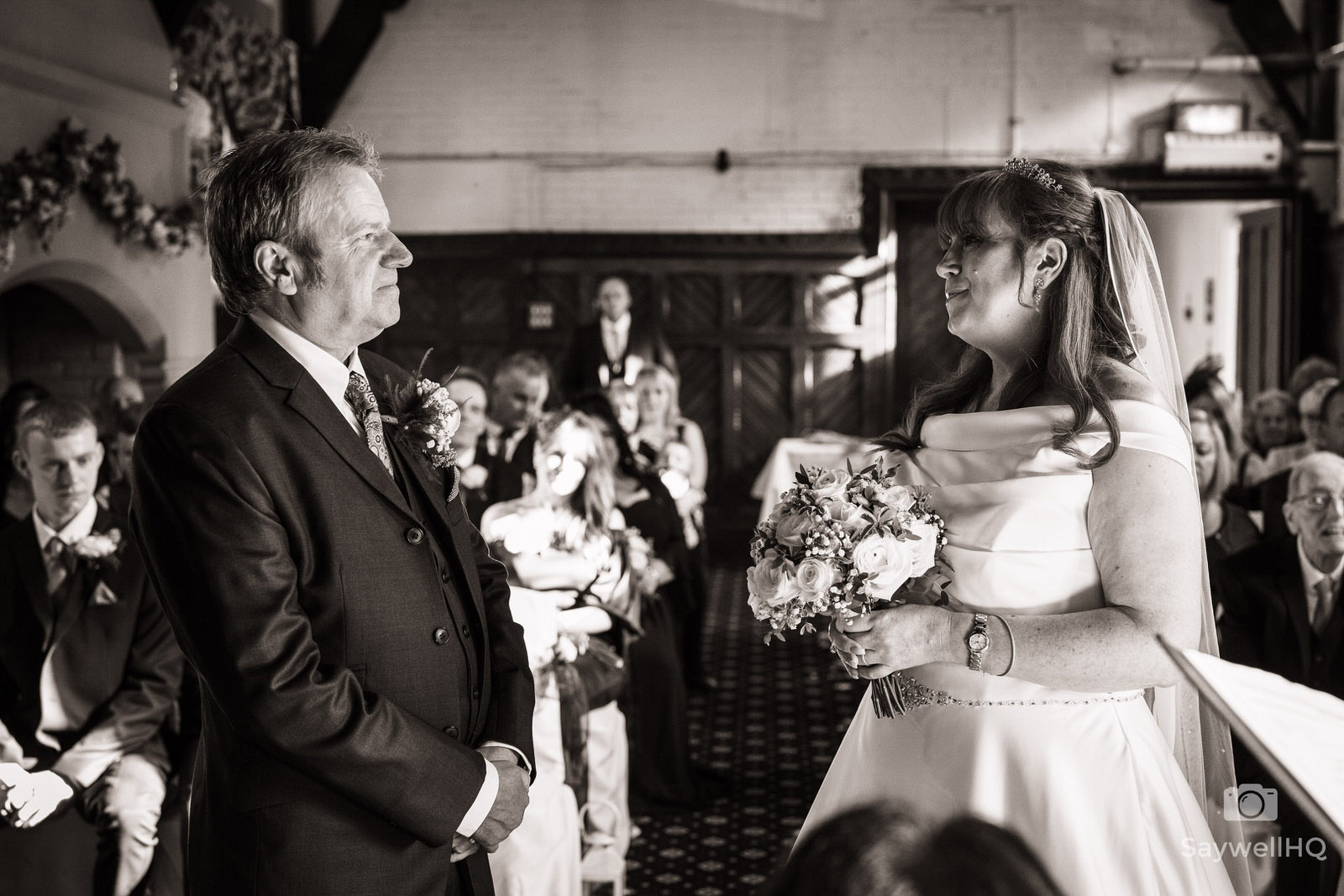 Wedding Photography at Bestwood Lodge – bride and groom looking at each other during the wedding ceremony