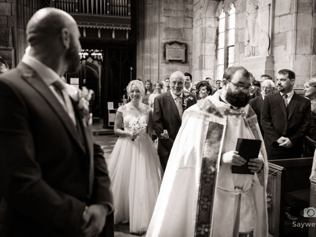 Elvaston Castle Wedding Photography + bride arrives to the church wedding ceremony with father