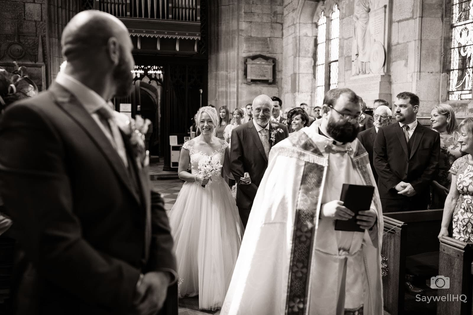 Elvaston Castle Wedding Photography - Bride and Father of the bride walking down the aisle