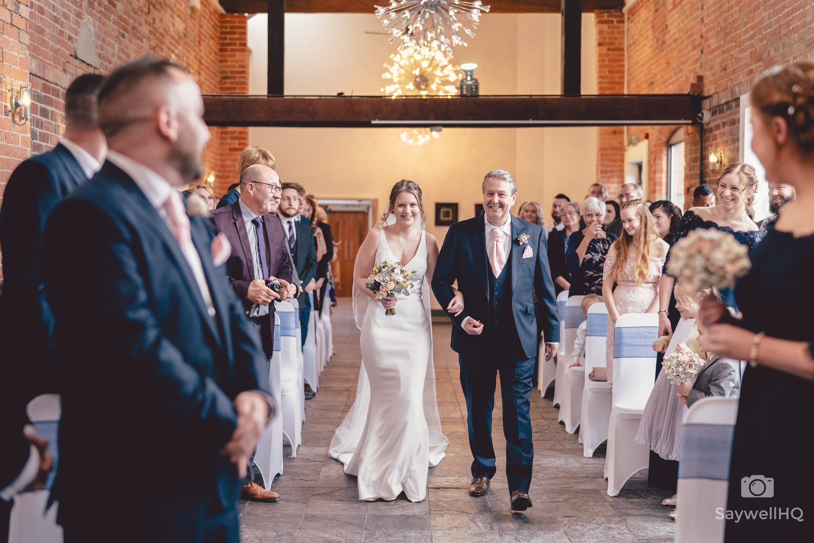 Goosedale wedding photography - bride and father walking down the aisle