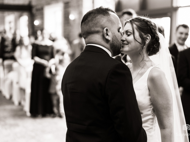 Wedding photography at Goosedale - bride and groom kissing during the wedding ceremony