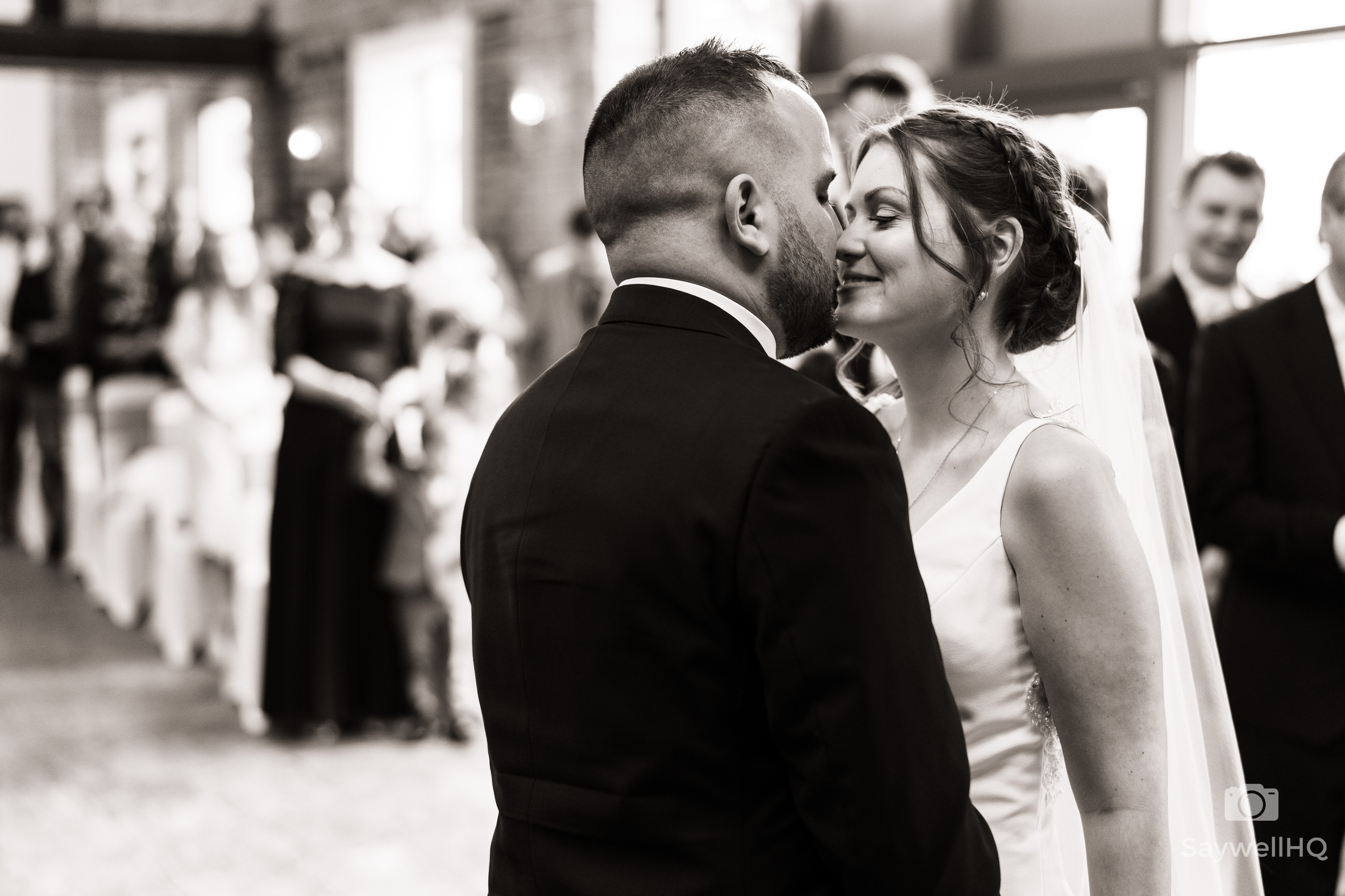Goosedale wedding photography - bride and Groom first kiss during the wedding ceremony