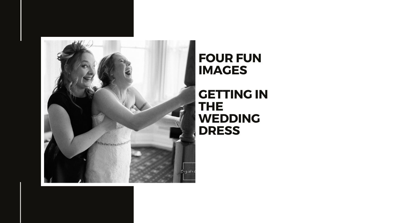 bestwood lodge wedding photography + bride getting help getting in to her wedding dress on the day of her wedding