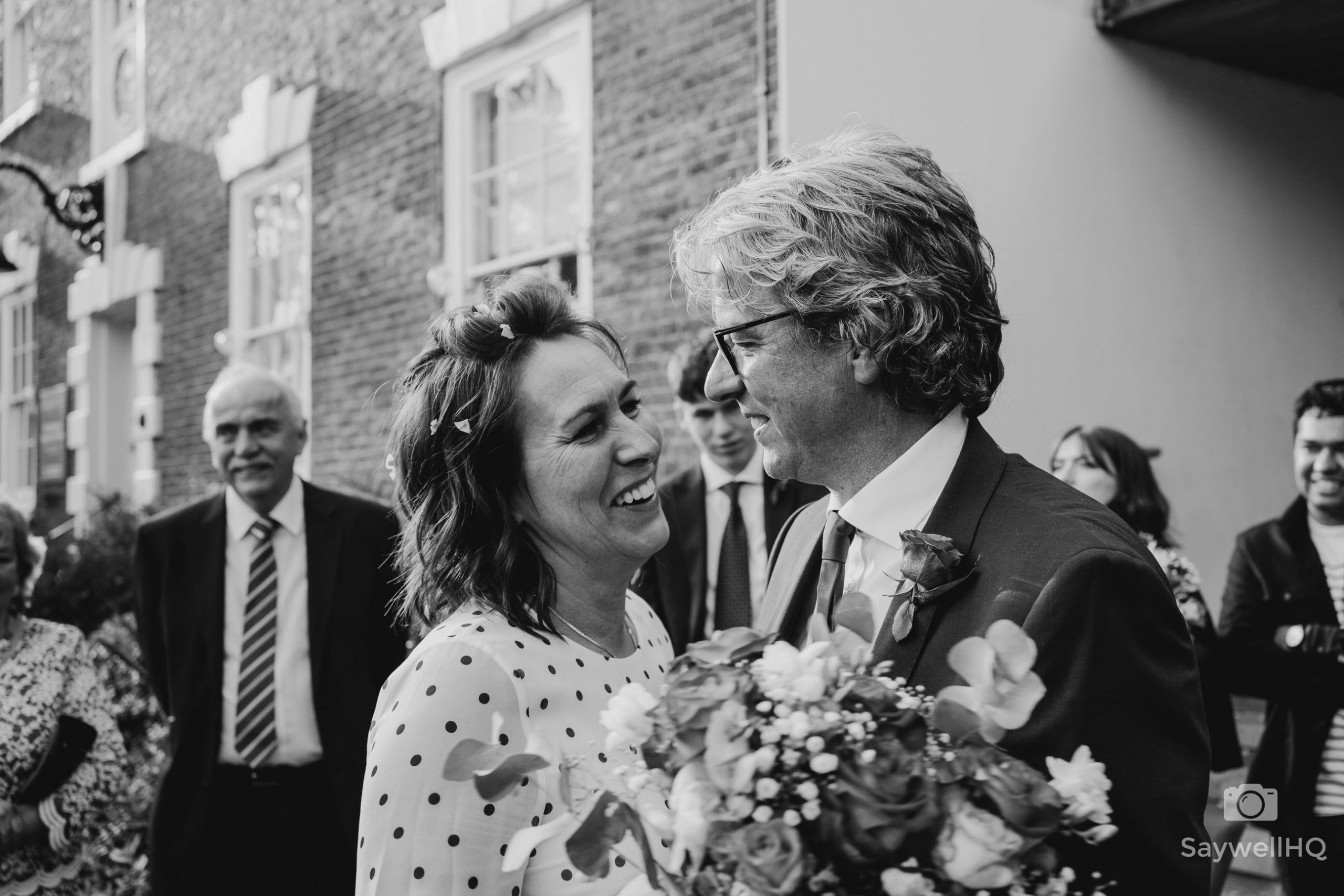 West Bridgford Hall Wedding Photography - Bride and groom enjoy a moment after the confetti throwing
