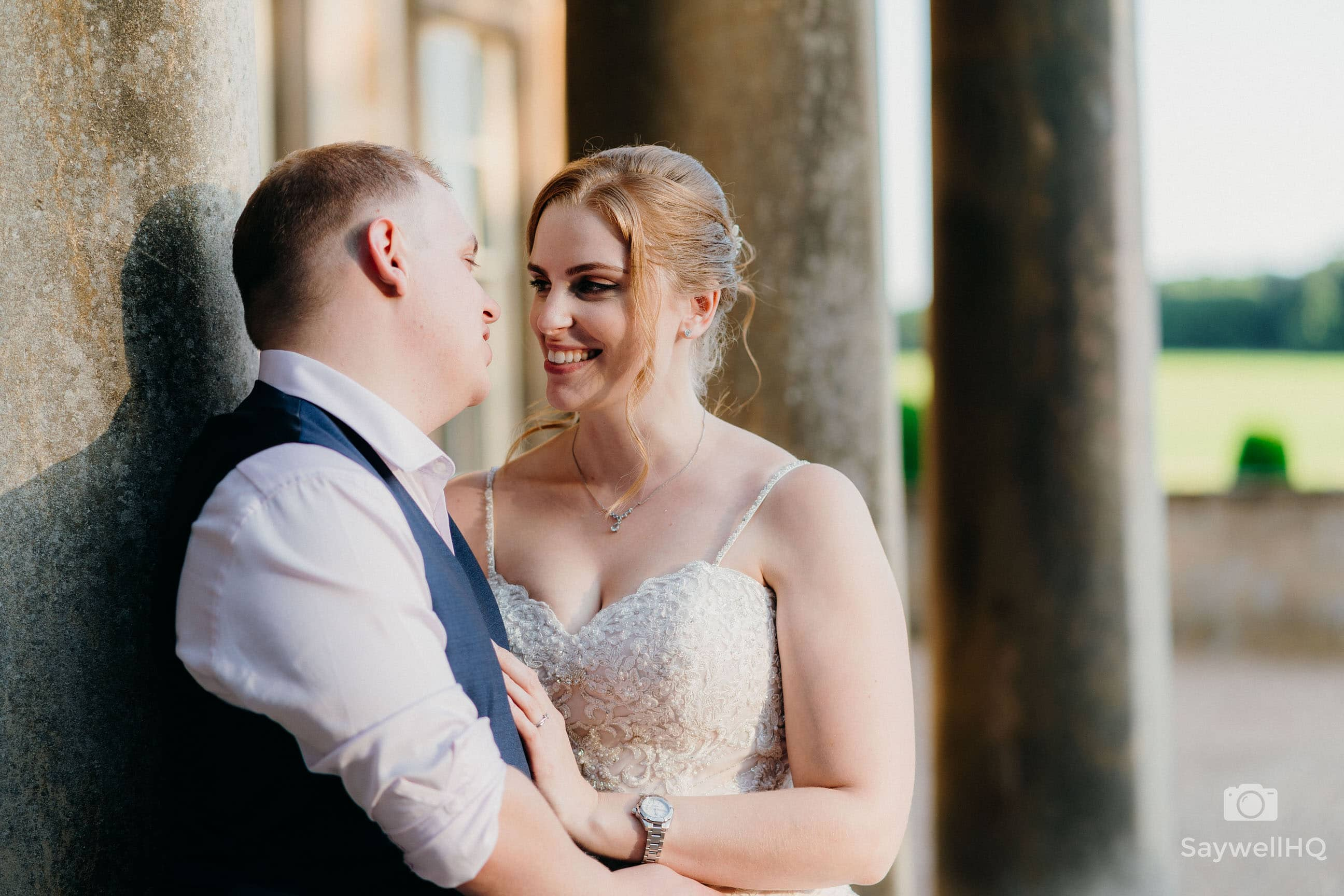 Prestwold Hall Wedding Photography Documentary Wedding Photographer - Bride and groom pose in nice light after their wedding at Prestwold Hall