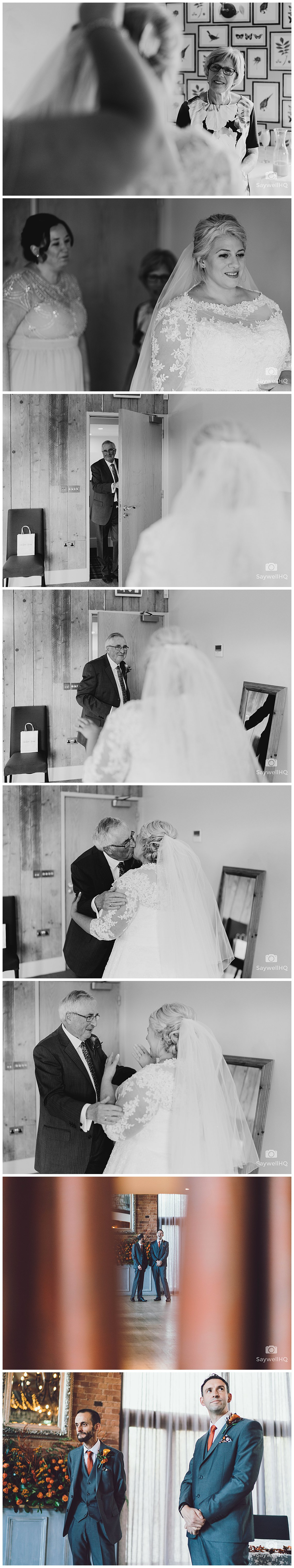 Wedding photography at The Carriage Hall in Nottingham - dad see's the bride before her wedding at carriage hall