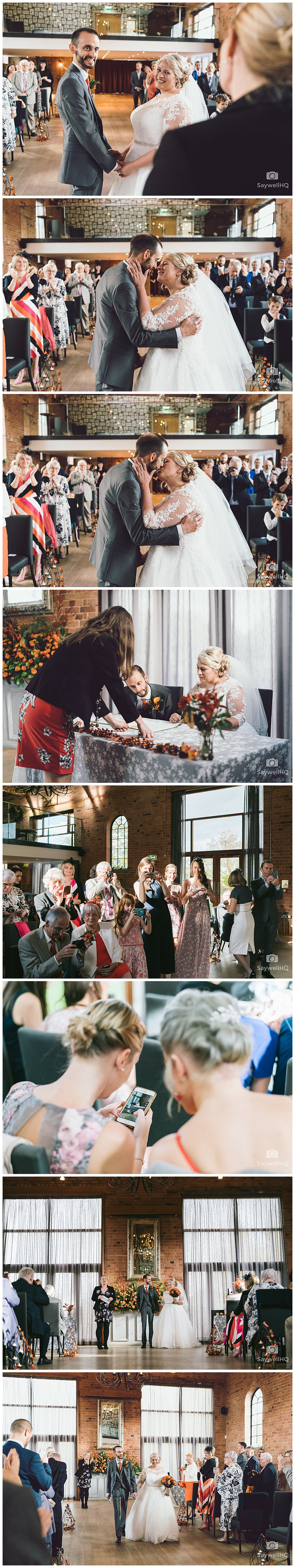 Wedding photography at Carriage Hall in Nottingham - bride and groom first kiss during their wedding at carriage hall