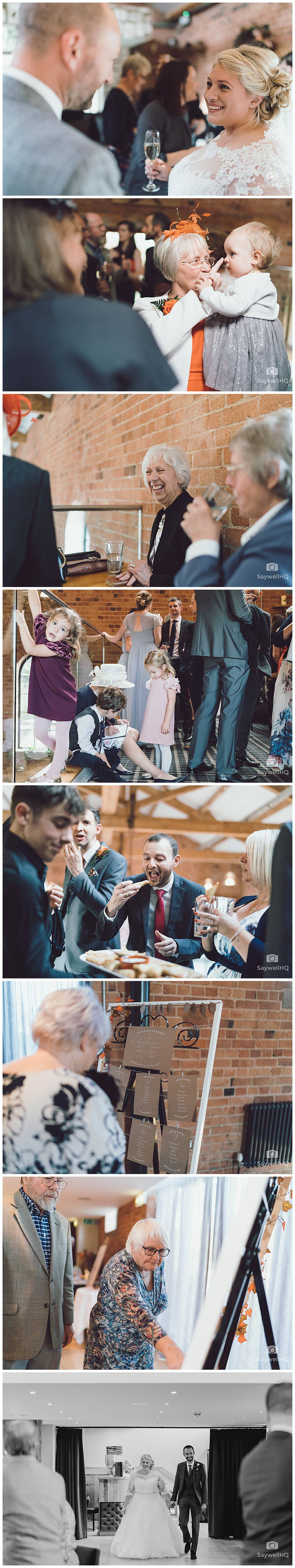 Wedding photography at Carriage Hall in Nottingham - bride and groom celebrate with guests at their wedding at carriage hall