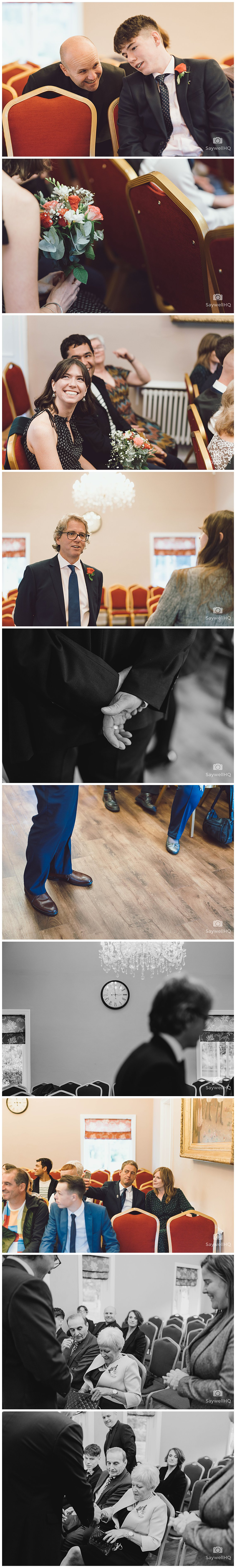 West Bridgford Wedding Photography - groom waits with guests in the ceremony room