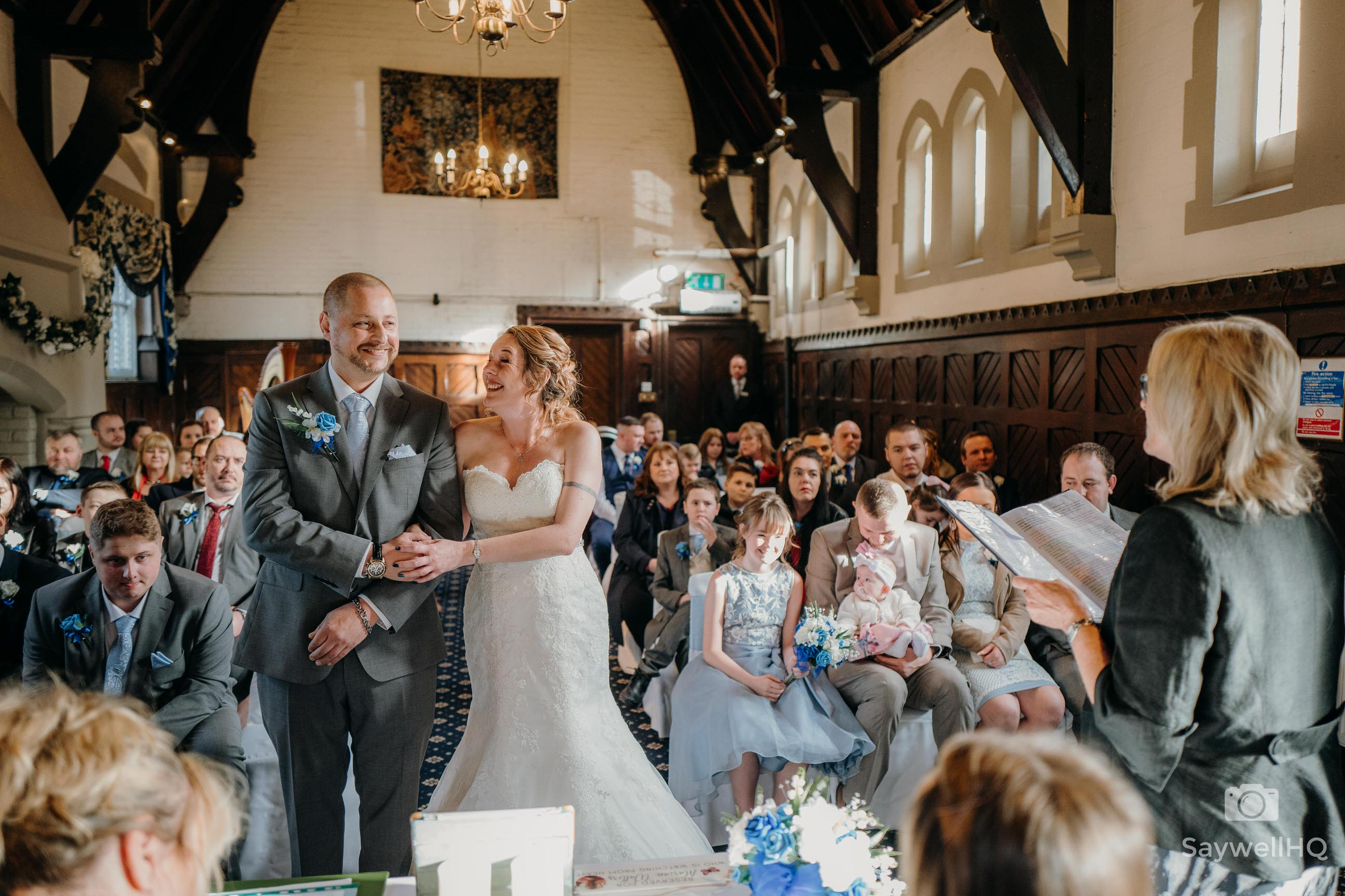 Bestwood Lodge Wedding Photography - bride and groom looking happy during their wedding ceremony at the Bestwood Lodge Hotel