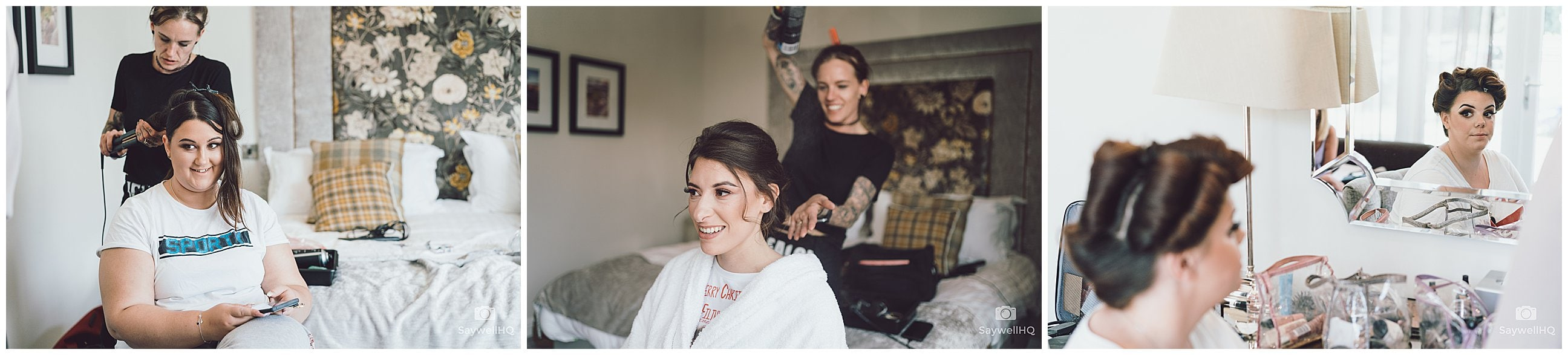 Derby Wedding Photographer - Peak Edge Hotel - bride and bridesmaids getting ready on the morning of a wedding