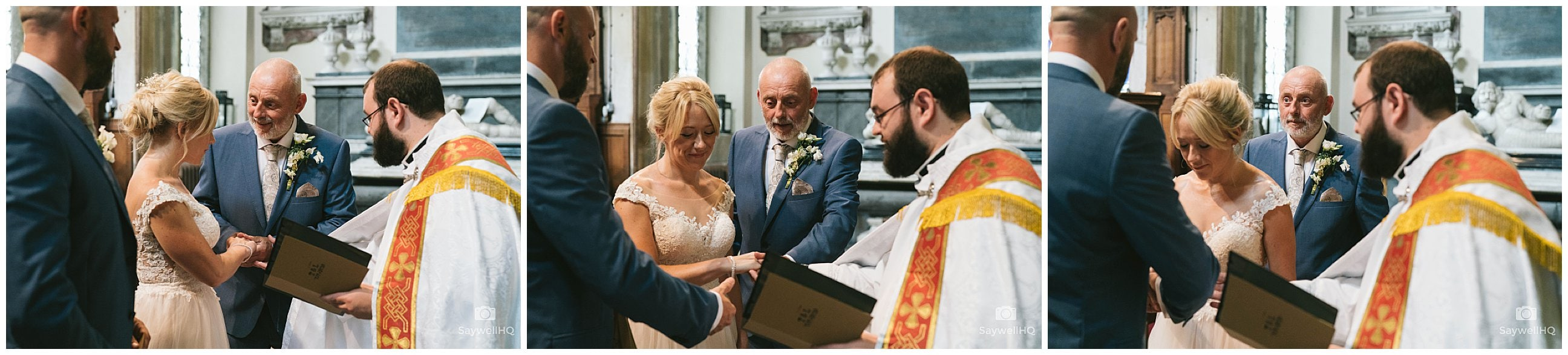 Derby Wedding Photography at St Bartholomew's Church - dad handing his daughter's hand in marriage to the groom