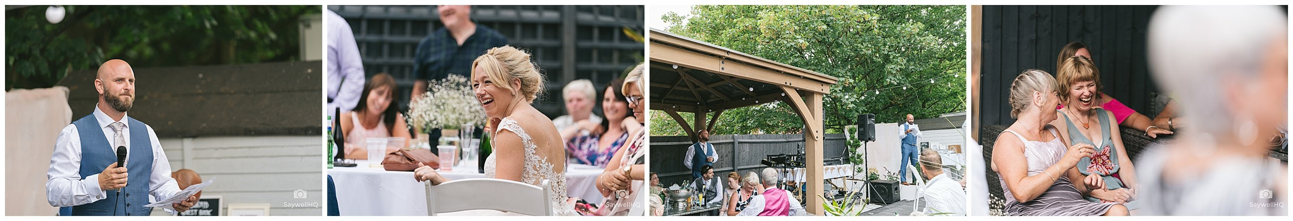 Derby Wedding Photography - wedding guests enjoy the wedding speeches in the garden of the bride and groom