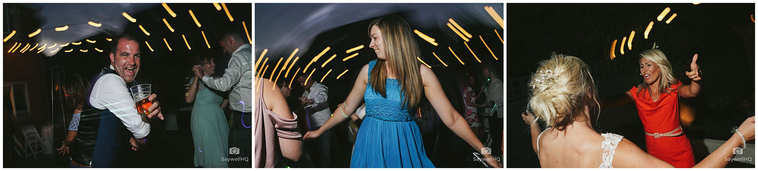 Derby Wedding Photography - wedding guests enjoy the disco in the garden of the bride and groom