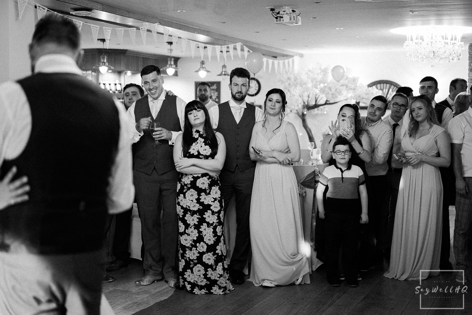White Hart Inn at Moorwood Moor Wedding Photography - guests watching on as the bride and the father of the bride dance during a wedding at the White Hart Inn Alfreton