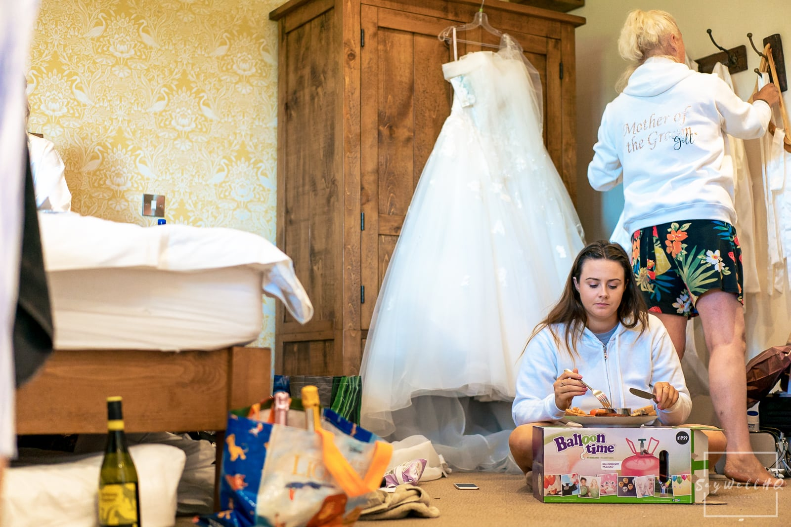 Wedding Photography at THE WHITE HART AT MOORWOOD MOOR - Bridesmaid having breakfast on the morning of a wedding