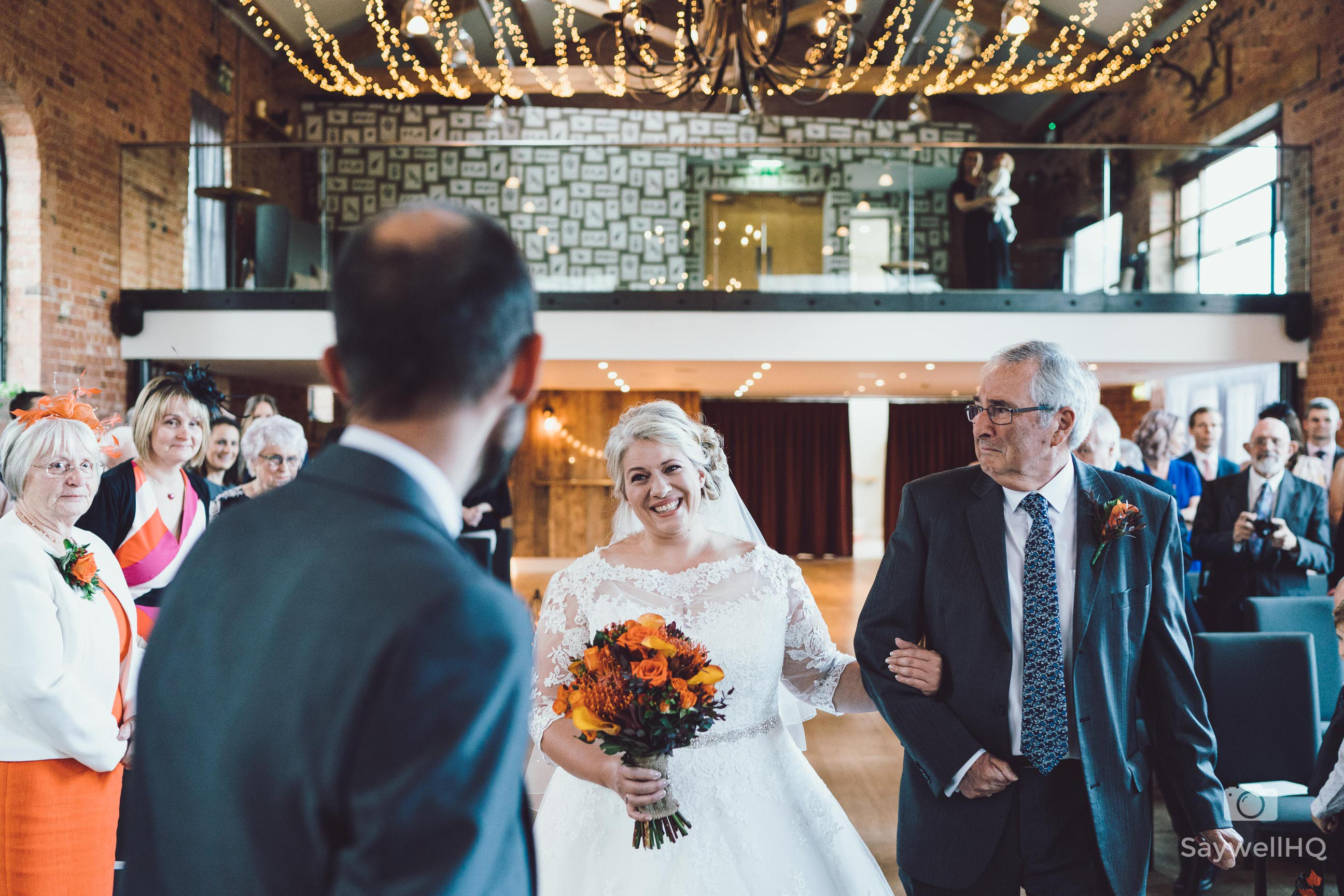 Wedding photography at Carriage Hall in Nottingham + emotional father of the bride and bride walking down the aisle at Carriage Hall Wedding
