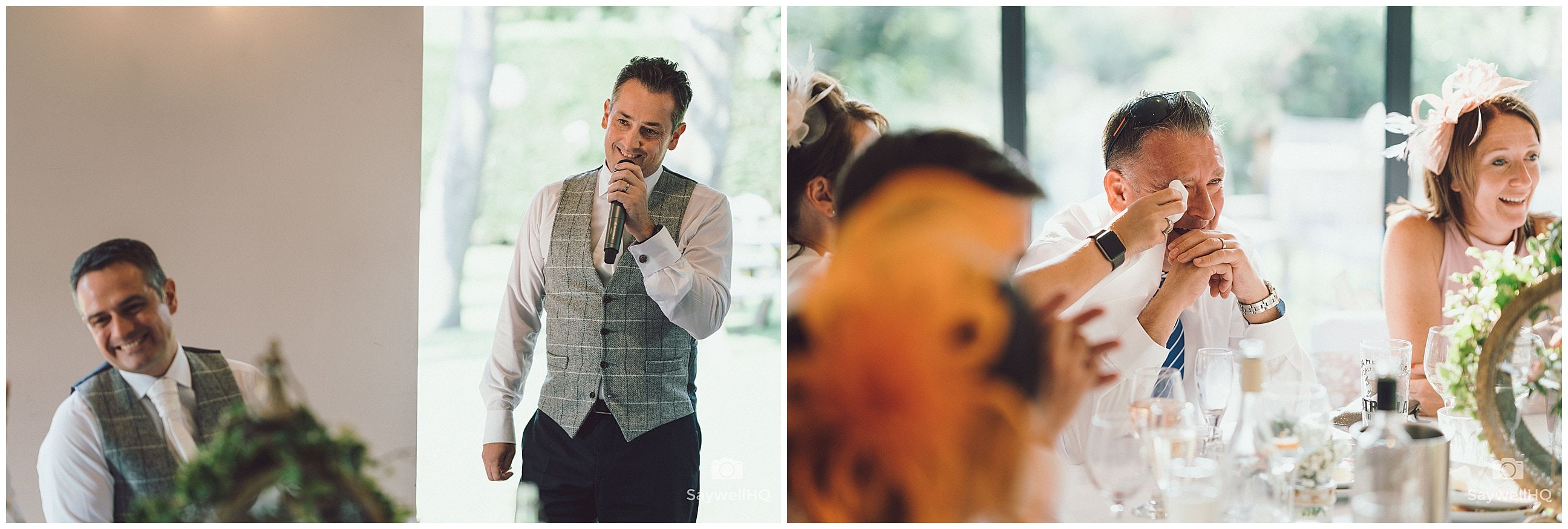 The Chequers Inn Woolsthorpe Wedding Photography - guest reactions to the grooms emotional wedding speech