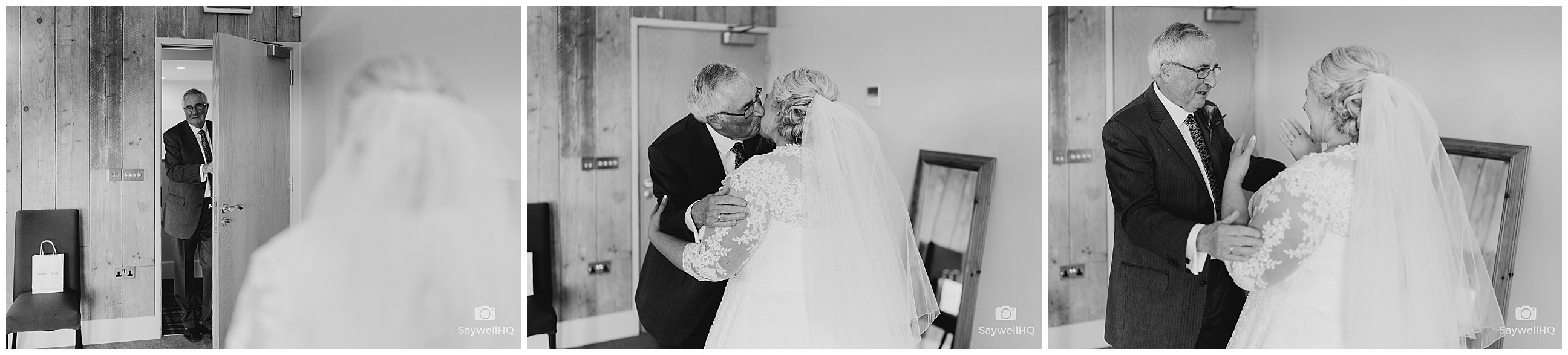 Wedding photography at Carriage Hall in Nottingham + Brides sees for dad for the first time in her wedding dress