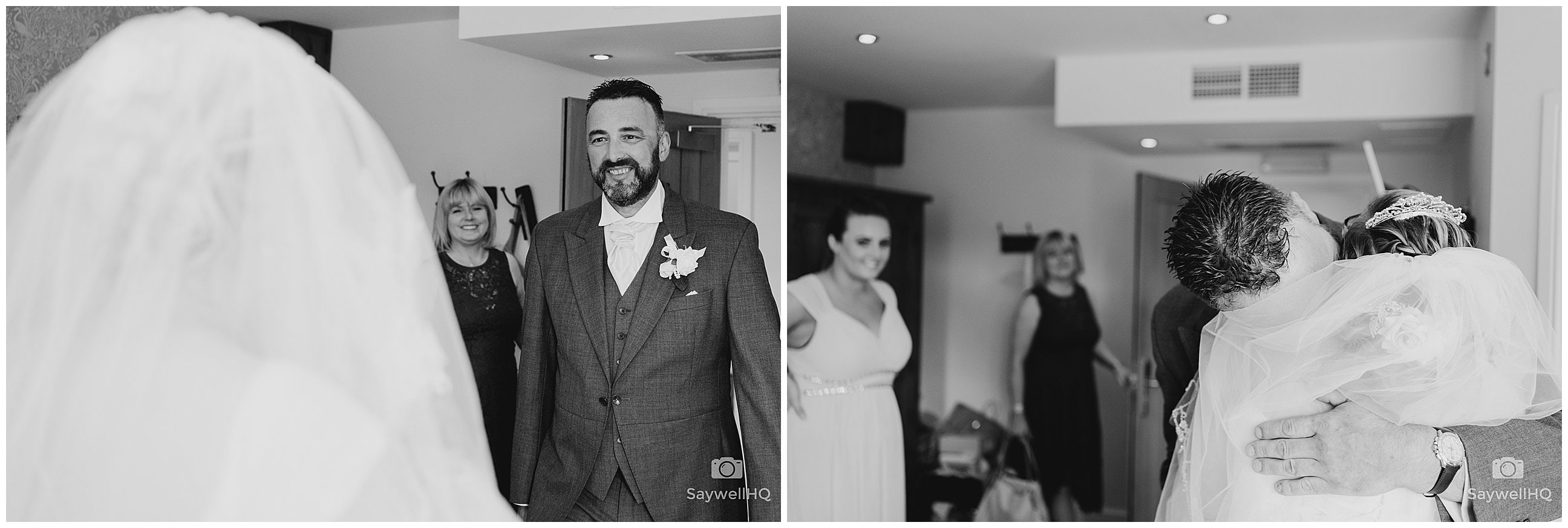 White Hart Inn at Moorwood Moor Wedding Photography - bride sees her father for the first time on her wedding at the White Hart Inn