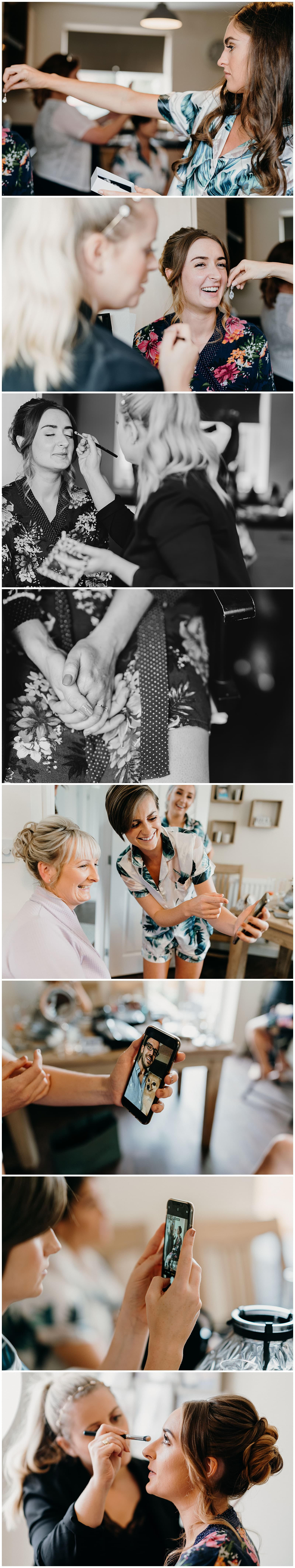 Wedding Photography at Hazel Gap Barn - bride and her bridesmaids getting ready in the morning of the wedding