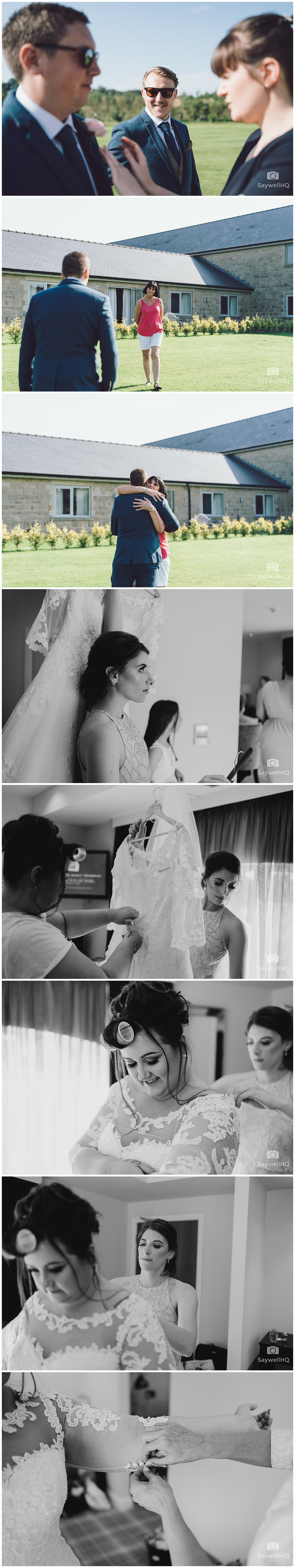Derby Wedding Photographer - Peak Edge Hotel - bride puts on her wedding dress with help from her mother and bridesmaids