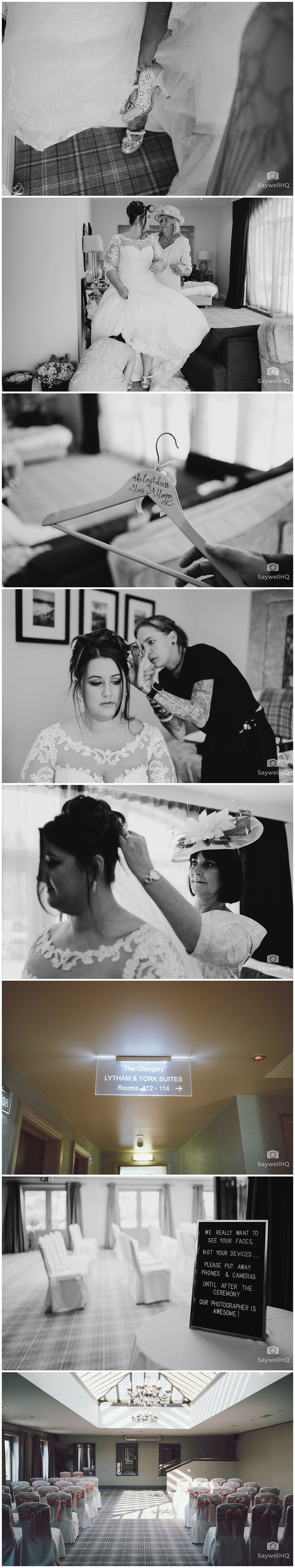 Derby Wedding Photographer - Peak Edge Hotel - bride puts on her wedding dress with help from her mother