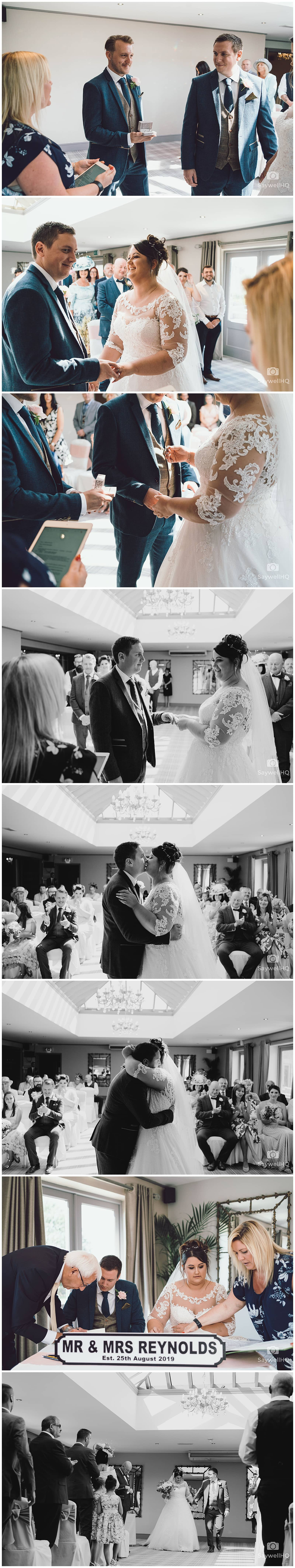 PEAK EDGE HOTEL WEDDING PHOTOGRAPHY - bride and groom first kiss during wedding at the peak edge hotel