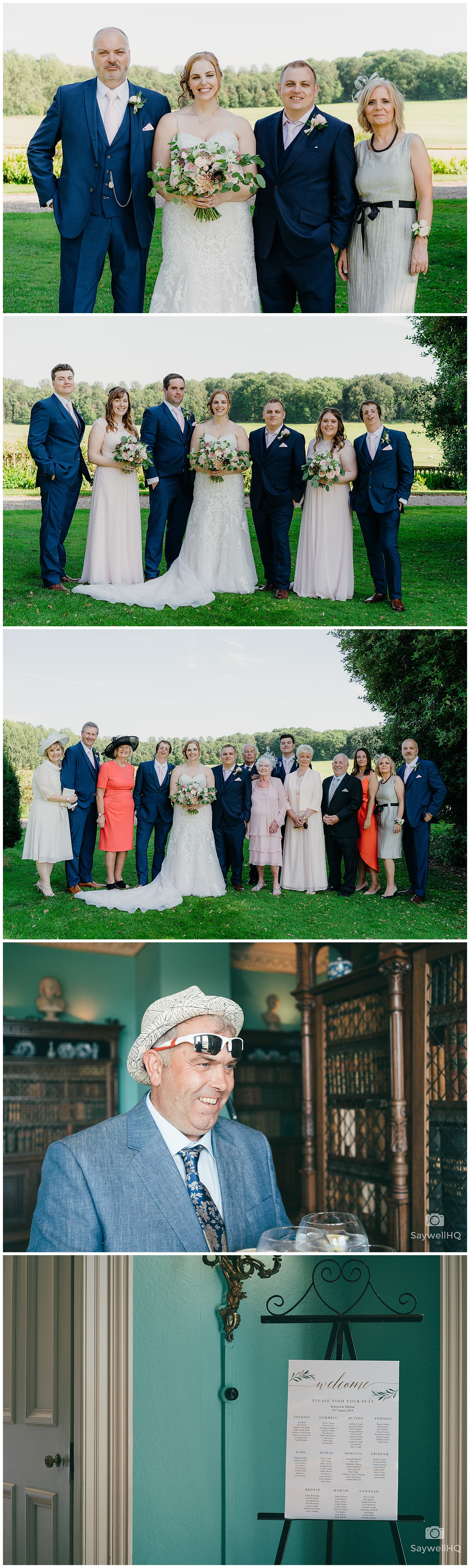Wedding Photography at Prestwold Hall – guests find their seats for the wedding speeches at Prestwold Hall