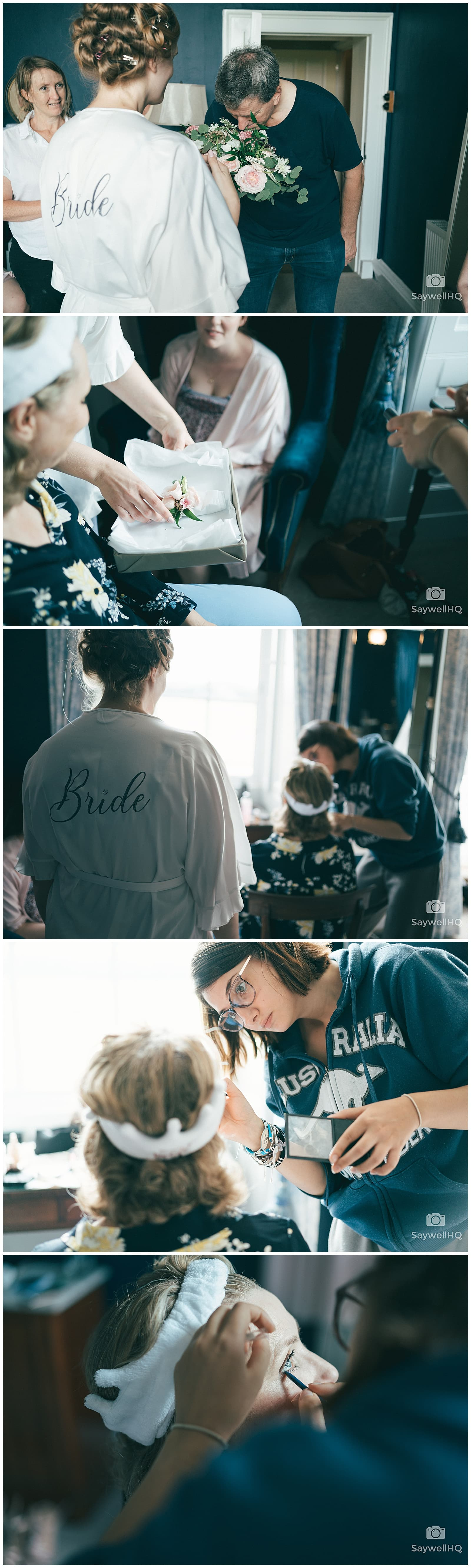 Wedding Photography at Prestwold Hall – bride and her bridesmaids getting ready in the morning of the wedding
