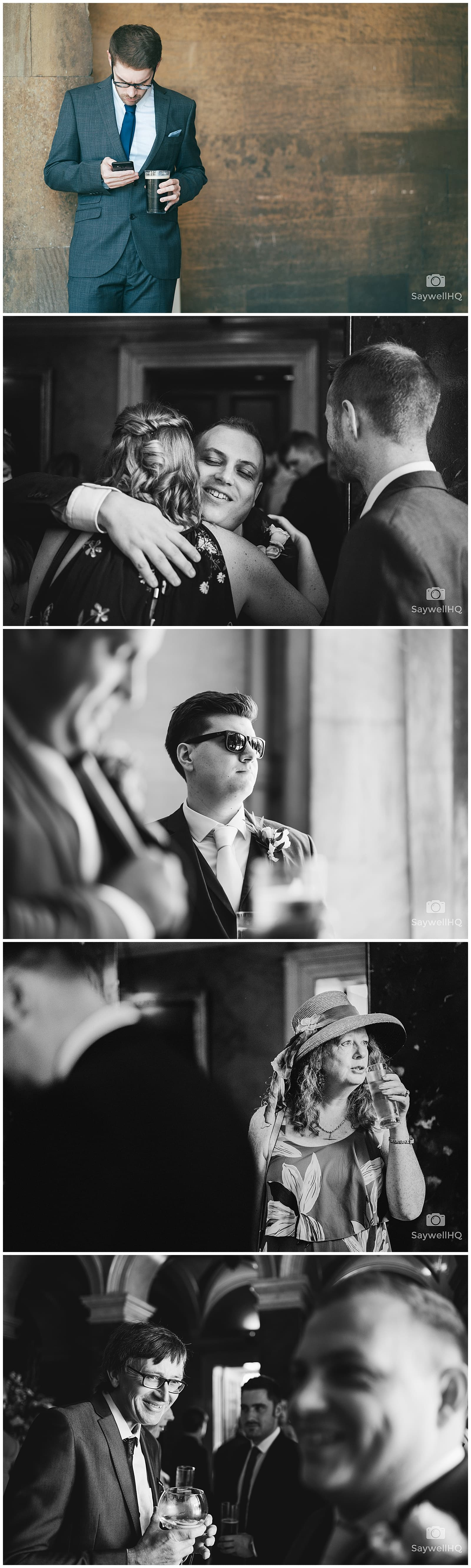 Wedding Photography at Prestwold Hall – Guests getting ready for the outdoor wedding ceremony at prestwold