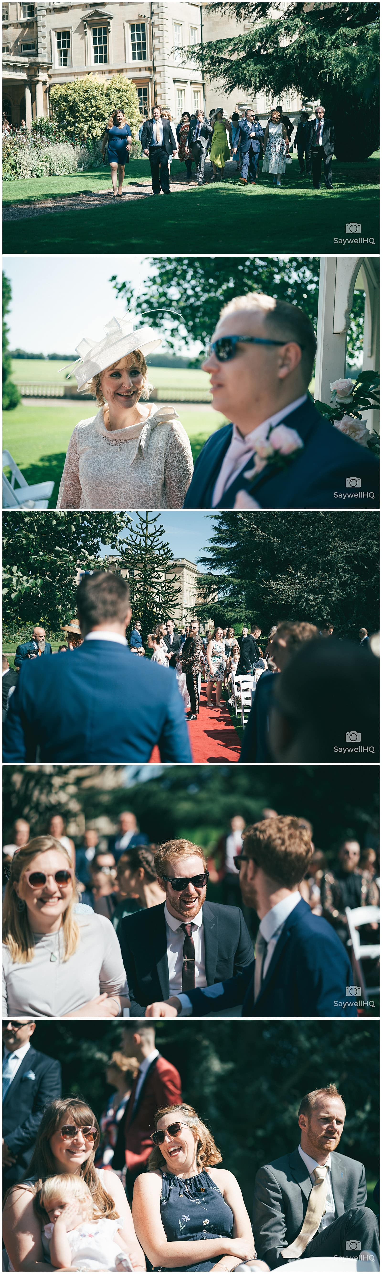 Wedding Photography at Prestwold Hall – bride and her dad walking down th aisle at prestwold hall wedding