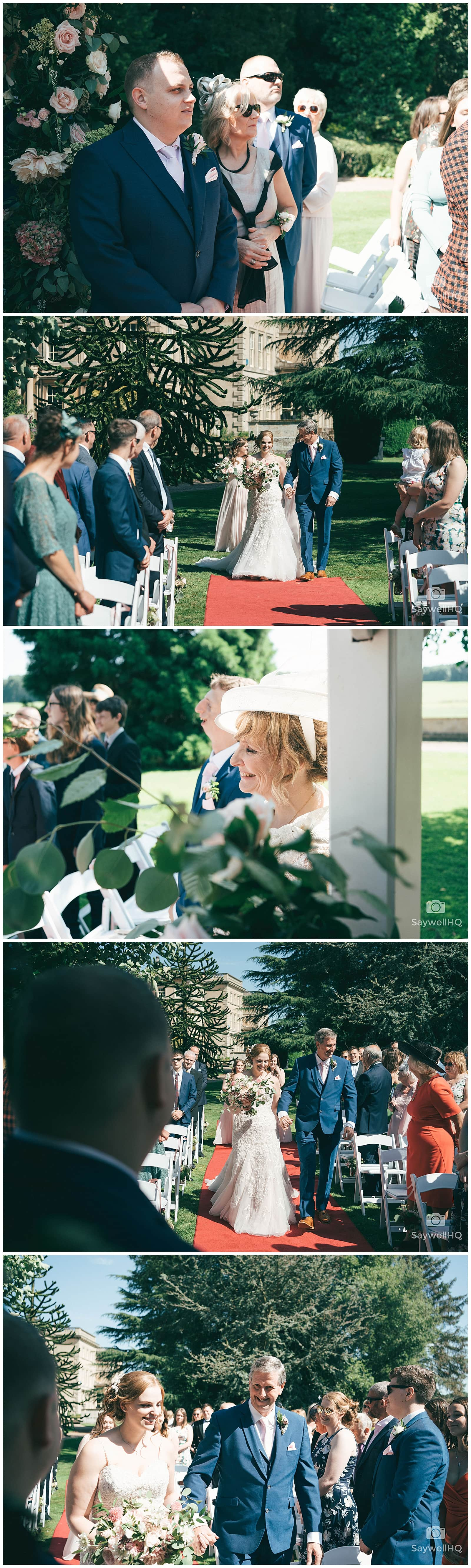 Wedding Photography at Prestwold Hall – outdoor wedding ceremony at prestwold hall