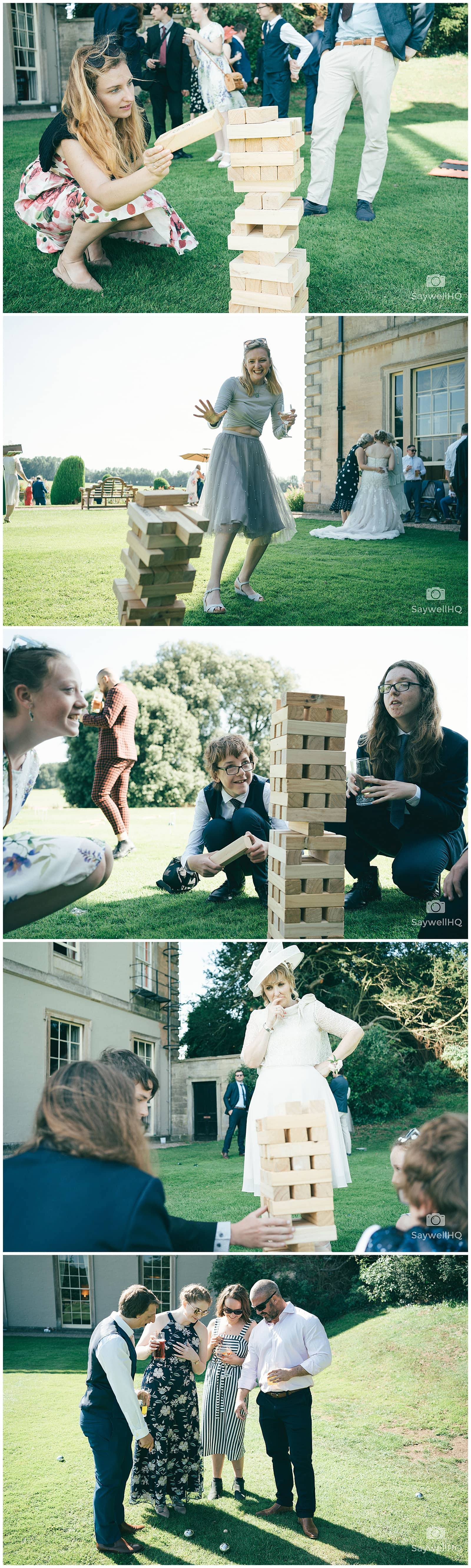 Wedding Photography at Prestwold Hall – guests relax and play garden games after the wedding ceremony at Prestwold Hall