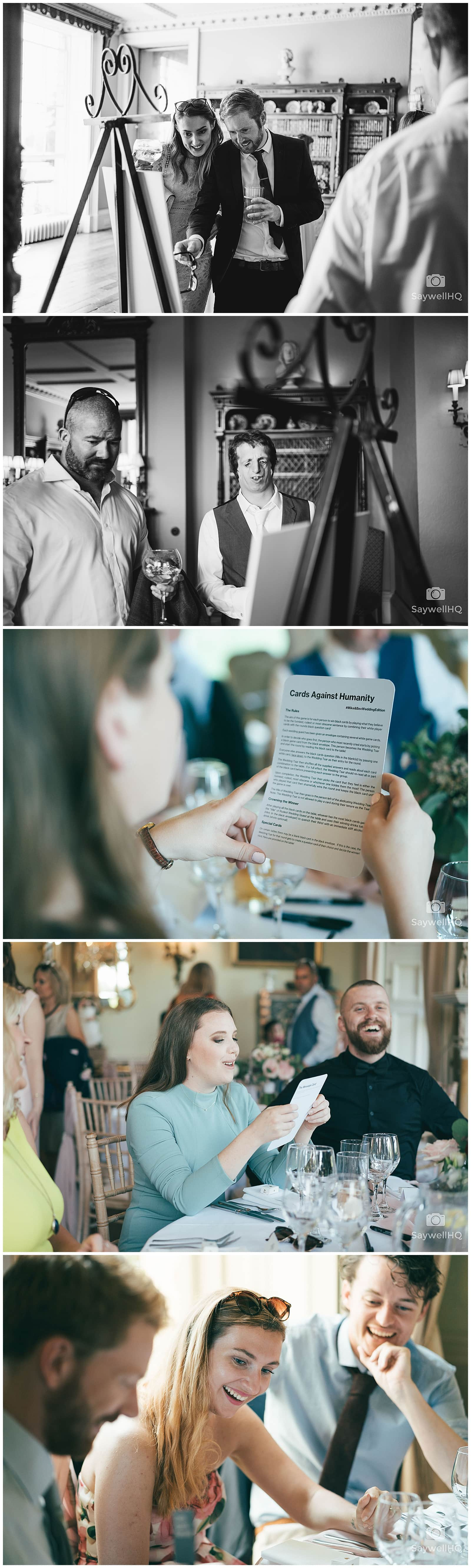 Wedding Photography at Prestwold Hall – guests welcome in the bride and groom to the wedding breakfast at Prestwold Hall